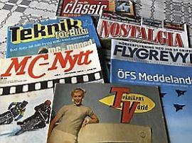 Stor samling motortidningar.