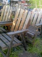 4 st fällbara trädgårds stolar i trä