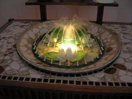 Blombord med fontän