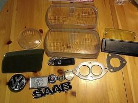 Lyktglas, spegel och div. prylar för bilar
