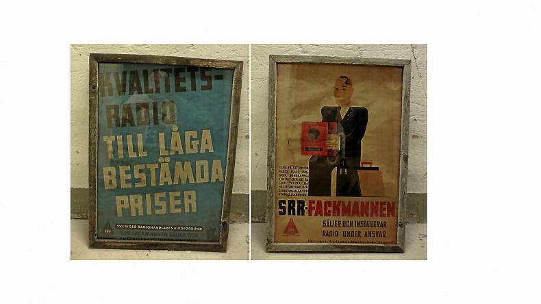 Äldre inramade reklamskyltar Radio