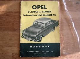 Handbok till Opel Olympia och Rekord 1958