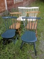 2 x 2 pinnstolar + 2 antika stolar, bruna