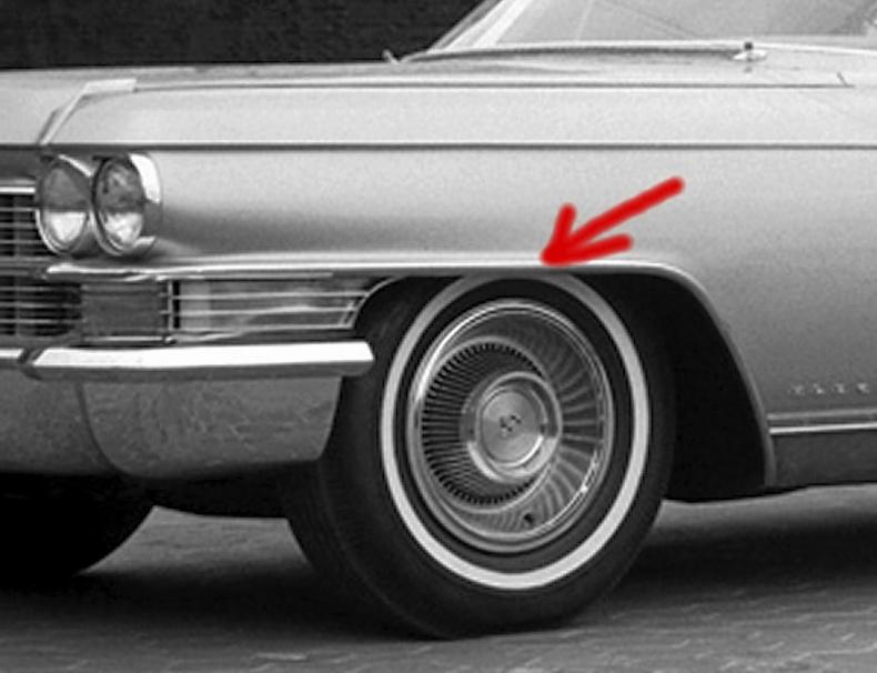 Till Cadillac Eldorado 1963 skärmkantslist vä fr.