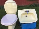 Handfat och toalettstol