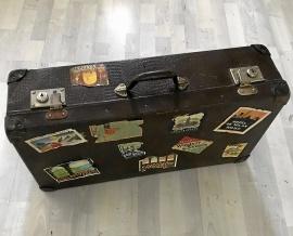 Unik 1950-tal Vintage resväska med hotell dekaler