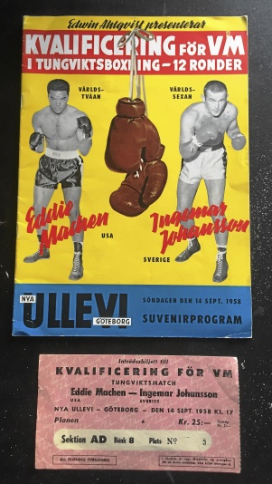 Matchprogram + Biljett Ingo - Eddie Machen 1958