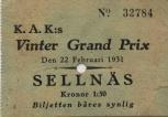 Biljett frän Motortävling