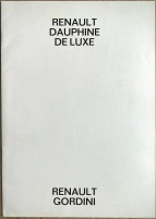 Broschyr Renault Dauphine Gordini 1961