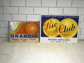 Reklamskylt Orancia, Rio Club, Huseby bryggeri