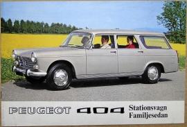 Broschyr Peugeot 404 stationsvagnar 1970