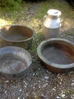 Zinkbalja, aluminiumflaska 50 l, pannmursinsatser i koppar