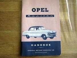 Instruktionsbok Opel Kapitän 1954.