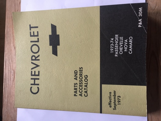 Chevrolet, parts and accessories catalog